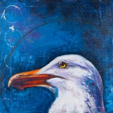 painting of a gull (sea bird) with blue background