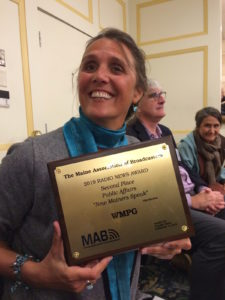 Kate Manahan winner at 2019 Maine Association of Broadcasters Awards