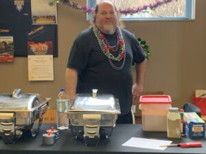 Greg Arnold long-time Portland area chef represents Ruski's with some delicious entre at WMPG's 2020 Mardi Gras Party