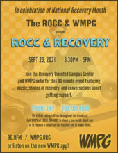 ROCC & Recovery & WMPG - this Thursday 3:30-5pm - live on WMPG